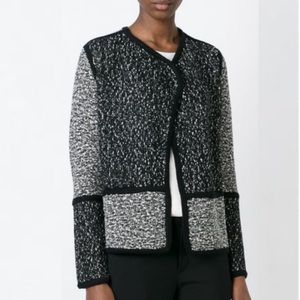 VINCE Boucle Open Blazer-Black/White Panels-Size S
